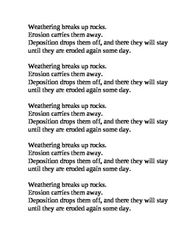 Weathering Erosion Deposition Poem Vocabulary Earth Science