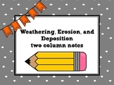 Weathering, Erosion & Deposition Powerpoint - Two Column Notes