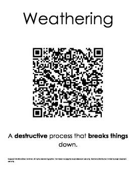 Weathering, Erosion, Deposition QR Activity