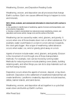 Weathering, Erosion, & Deposition Reading Guide