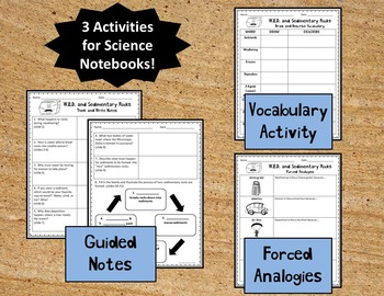 Weathering, Erosion, Deposition, Sedimentary Rocks PPT and Notebook Activities