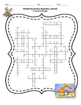 Weathering, Erosion, Deposition, & Soil Crossword Puzzle