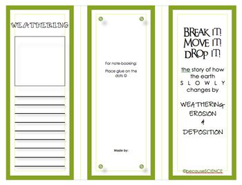 Weathering, Erosion, & Deposition Student Brochure