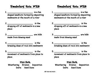 Weathering, Erosion, Deposition Vocab Pack