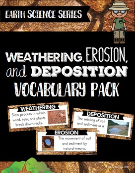 Weathering, Erosion, & Deposition Vocabulary Pack - Earth