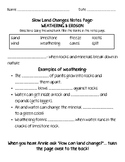 Weathering & Erosion Notes Page