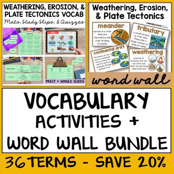 Weathering, Erosion, Plate Tectonics Vocabulary Bundle