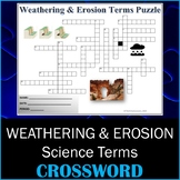 Weathering & Erosion Science Crossword Puzzle Activity Worksheet