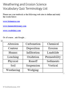 Weathering & Erosion - Science Vocabulary Quiz and Word List