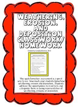 Weathering, Erosion and Deposition Classwork/Homework