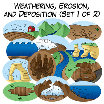 Weathering, Erosion, and Deposition Clip Art: Set 1 of 2