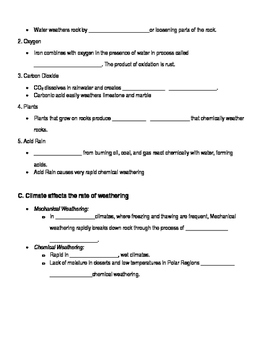 Weathering, Erosion, and Deposition Notes