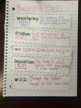 Weathering, Erosion, and Deposition Organizer