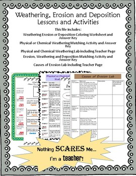 Weathering Erosion and Deposition Earth Science Activity Pack