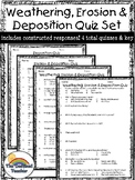 Weathering, Erosion and Deposition Quiz Packet Set - 4 Quizzes!