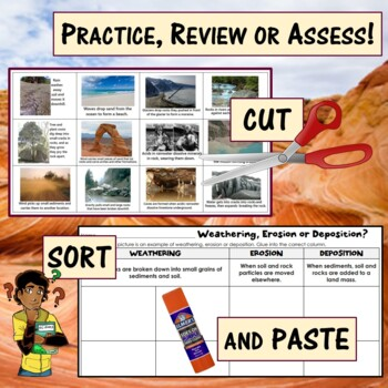 Weathering, Erosion & Deposition Simple Sort with real pictures: center, assess