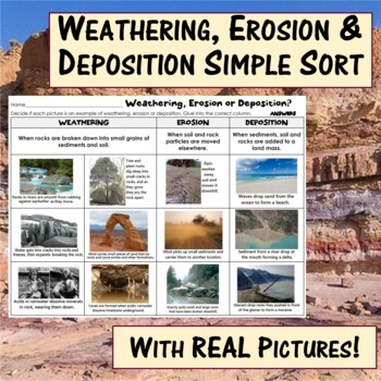 Weathering, Erosion & Deposition Simple Sort with real pic