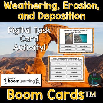 Weathering, Erosion, and Deposition Task Cards - Digital Boom Cards™