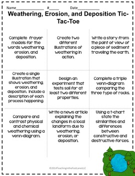 Weathering, Erosion, and Deposition TicTacToe Choice Board