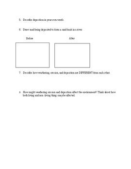 Weathering, Erosion and Deposition Worksheet
