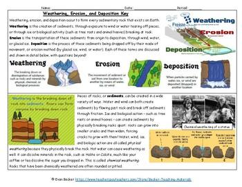 Weathering, Erosion, and Deposition Worksheet Key
