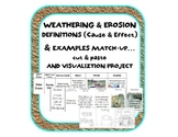 Weathering & Erosion definitions sort (cause & effect) examples & PROJECT bundle