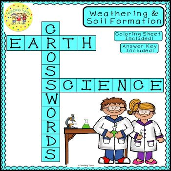 Weathering Soil Formation Earth Science Crossword Puzzle Worksheet Middle School
