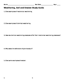 Weathering, Soil and Erosion Study Guide