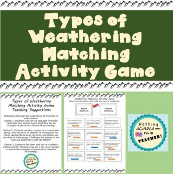 Physical and Chemical Weathering Sorting Game or Worksheet