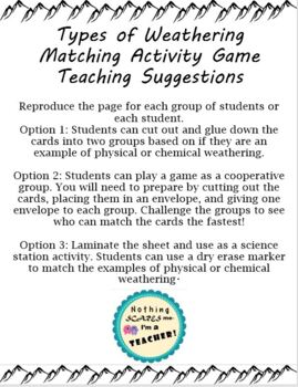 Physical and Chemical Weathering Hands-On Activity Game or Worksheet
