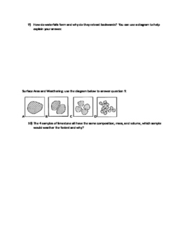Weathering Work Sheet (Outcrops Types of Rock
