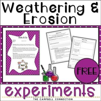 Weathering and Erosion Experiment Freebie!