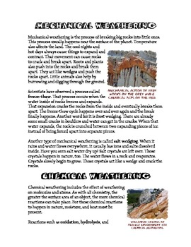 Weathering and Erosion - Compare and Contrast Jigsaw Activity