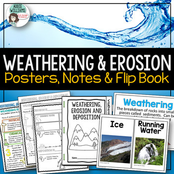 Weathering and Erosion Bundle - Doodle Notes, Flip Book and Posters