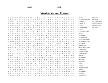 Weathering and Erosion Earth Science Word Search