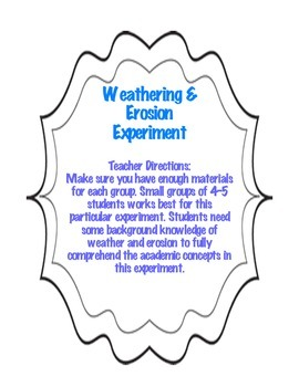 Weathering and Erosion Hands- On Experiment