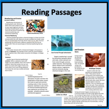 Weathering and Erosion Lab and Nonfiction Close Read NGSS 4-ESS2-1