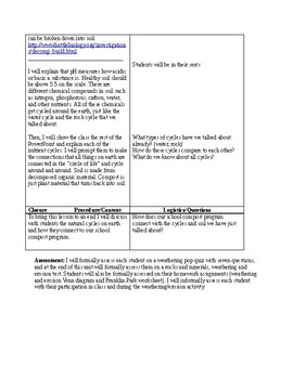 Weathering and Erosion Lesson Plan and Worksheet