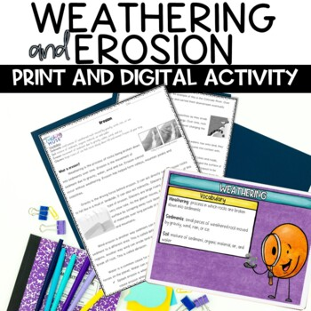 Weathering and Erosion Nonfiction Reading Informative Text Activity