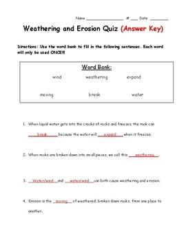 Weathering and Erosion Quiz