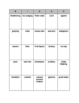 Weathering and Erosion Review Bingo