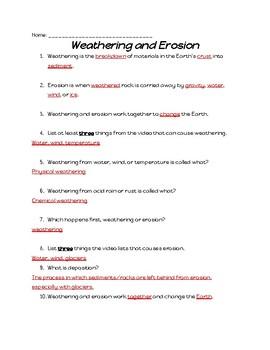 Weathering and Erosion Study Jams Worksheet