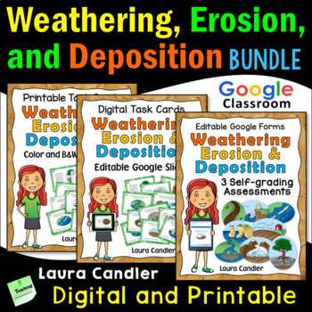 Weathering and Erosion Task Cards Bundle (with Google Classroom Quizzes)