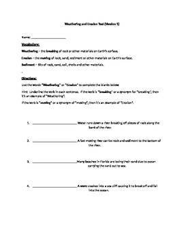 Weathering  and Erosion Worksheet