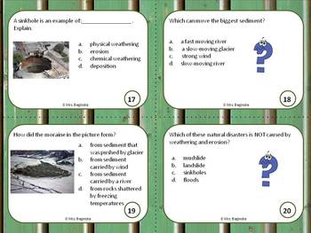 Weathering and Erosion: review and test prep task cards