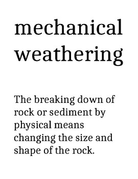 Weathering and Soil Vocabulary Words with Definitions