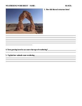 Weathering worksheet NGSS MS-ESS2-2.