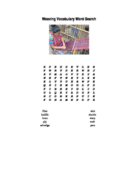 Weaving Art Vocabulary Word Search