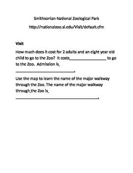 Web Byte Reading Comprehension Smithsonian National Zoo Differentiated for  ELLs