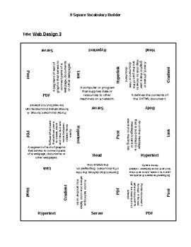 Web Design III -  9 Square Vocabulary Tool